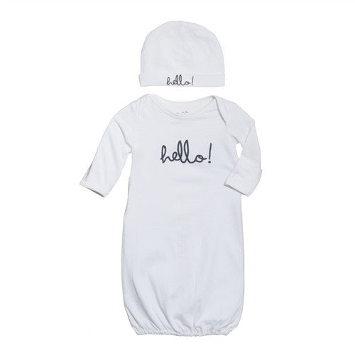 White Hello Baby Receiving Gown and Hat