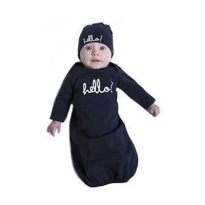 Navy Hello Baby Receiving Gown and Hat