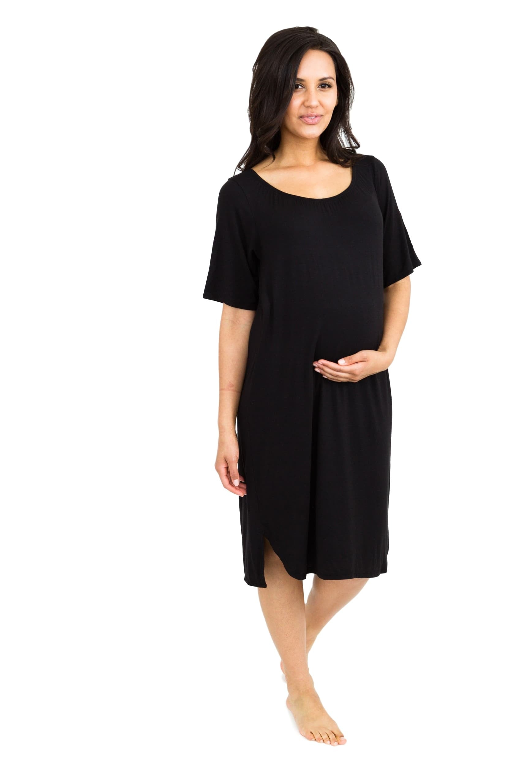 Off Shoulder T-Shirt Maternity/ Nursing Nightgown Dress Black