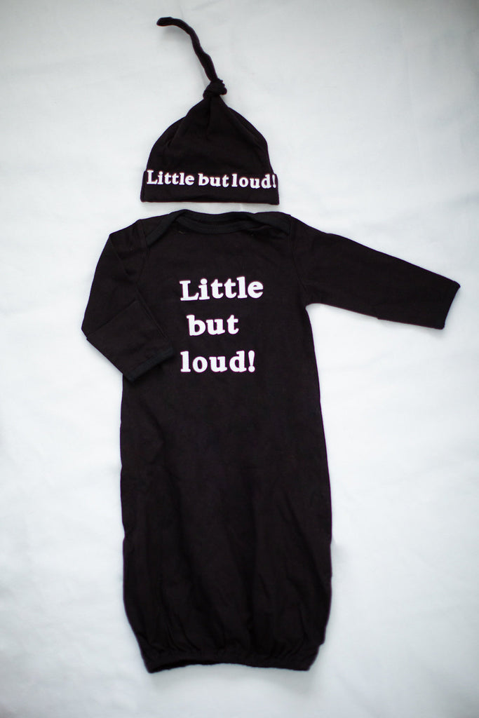 "Flore Maternity/Nursing Nightgown and Black ""Little But Loud "" Baby Gown Set"