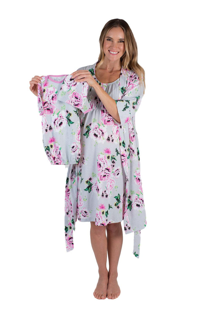 Olivia Floral Maternity Nursing Nightgown, Delivery Robe & Baby Receiving Gown Set