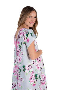 Olivia Floral Maternity Delivery Hospital Gown Gownie & Delivery Robe Set