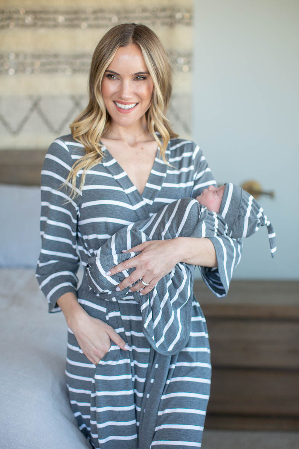 Grey Striped Swaddle Blanket & Hat Set