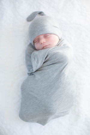 Light Heather Grey Solid Swaddle Blanket Set