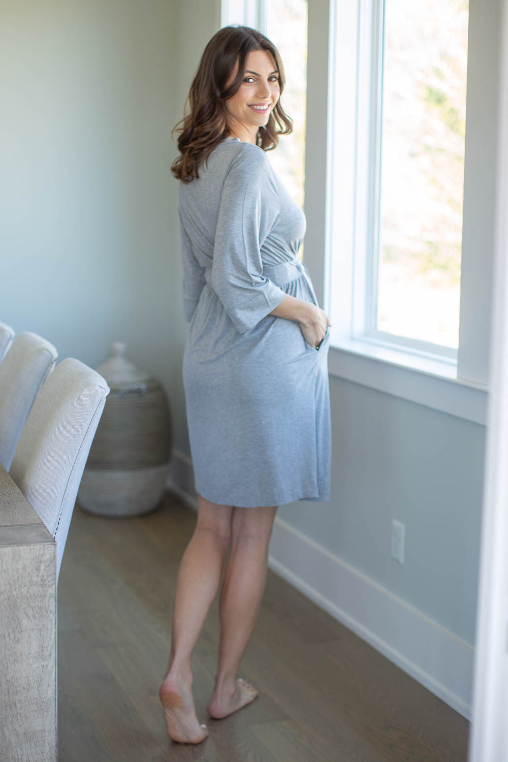 Light Heather Grey Maternity Delivery Nursing Robe