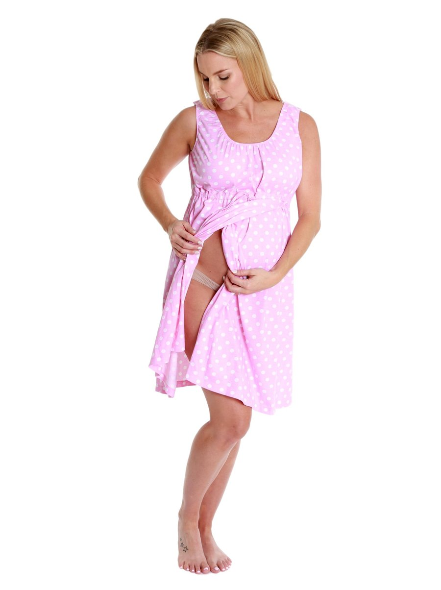 Pink Dotted 3 In 1 Labor And Delivery Gown Delivery Nursing Robe