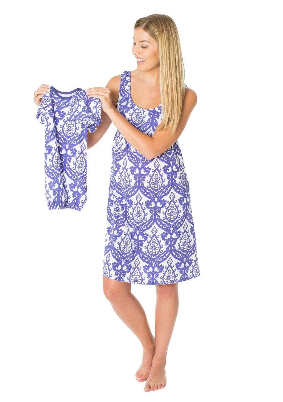 Brie Maternity/Nursing Nightgown & Matching Baby Receiving Gown Set ...