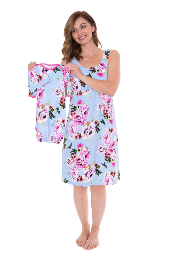 Isla Maternity Nursing Nightgown, Robe & Baby Receiving Gown Set