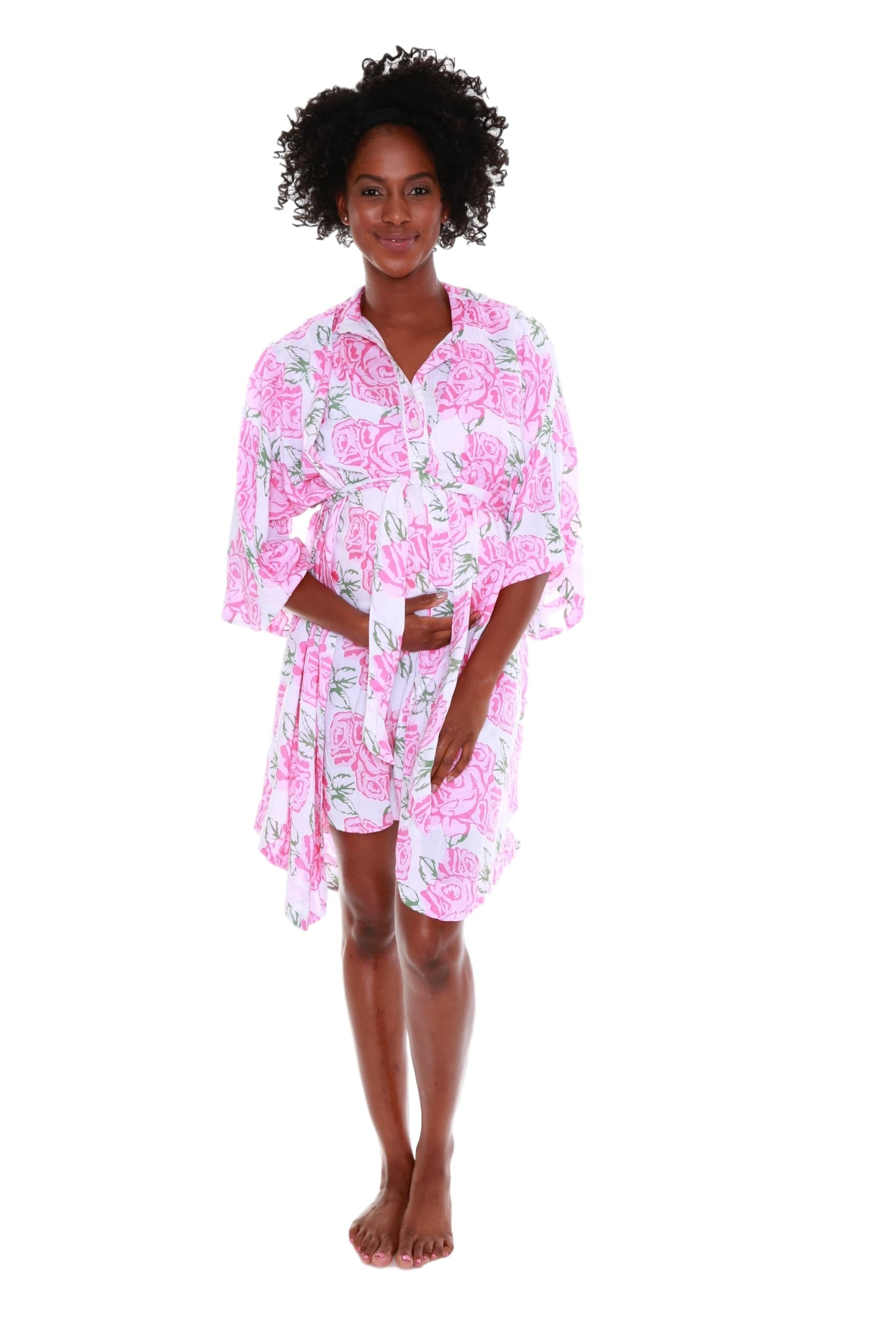 Rosalie Luxurious Ultra Soft Floral Delivery Nursing Robe