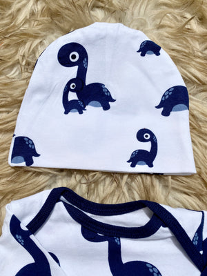 Dinosaur Baby Boy Receiving Gown and Newborn Hat Set