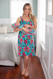 Floral nursing nightgown with matching mommy and me baby gown set
