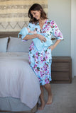 Isla Delivery Robe & Light Blue Swaddle Blanket Set