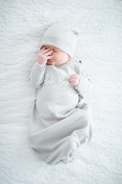 Lilly Delivery Robe with Grey Oh Boy! Baby Receiving Gown & Newborn Hat Set