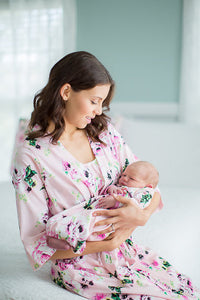 Amelia Floral Maternity Nursing Nightgown, Delivery Robe & Baby Receiving Gown Set