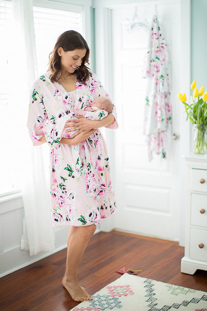 90dc4464c5c Amelia Delivery Robe with Matching Baby Gown   Newborn Hat – Baby Be ...
