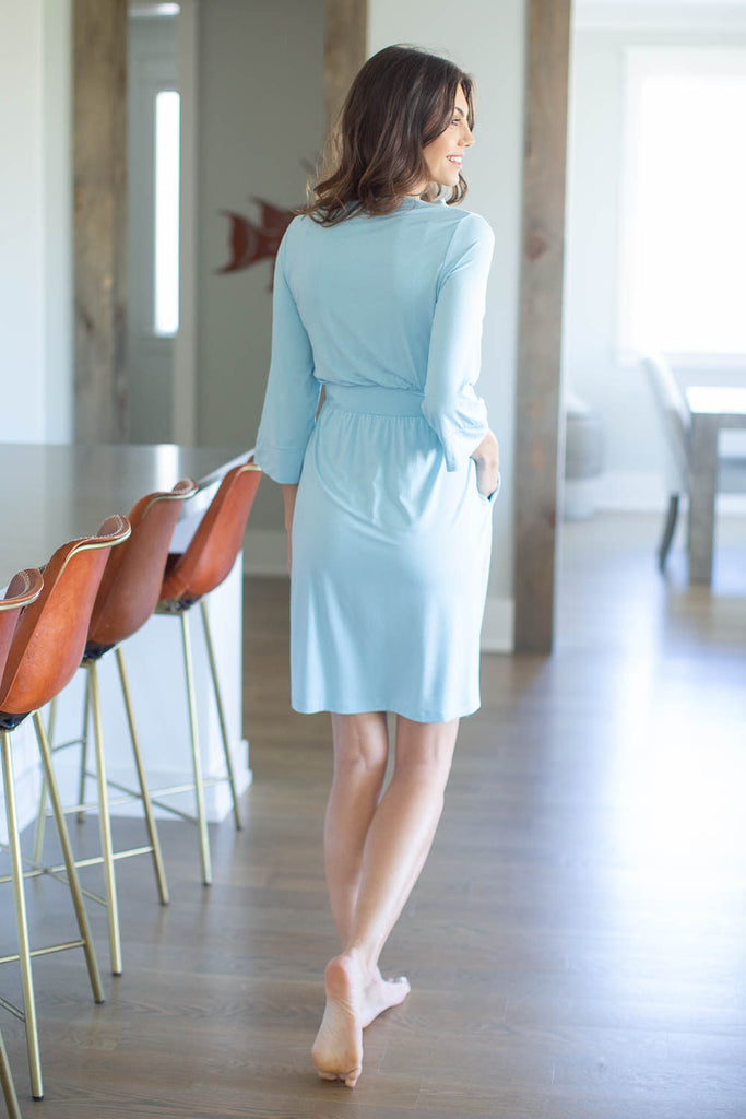 Light Blue Maternity Nursing Delivery Robe
