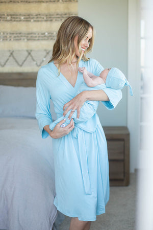 Light Blue Delivery Robe & Swaddle Blanket Set