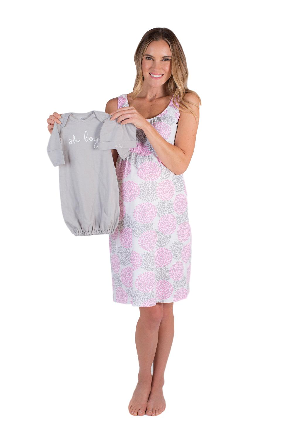 Lilly Sleeveless Nursing Nightgown with matching Receiving Gown Oh Boy! Set