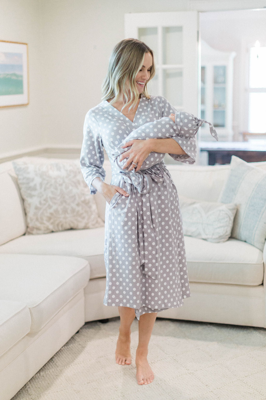 Kimono Mommy and me robe and swaddle set Maternity robe and swaddle set boy or girl Swaddle blanket Mermaids. Organic stretch cotton