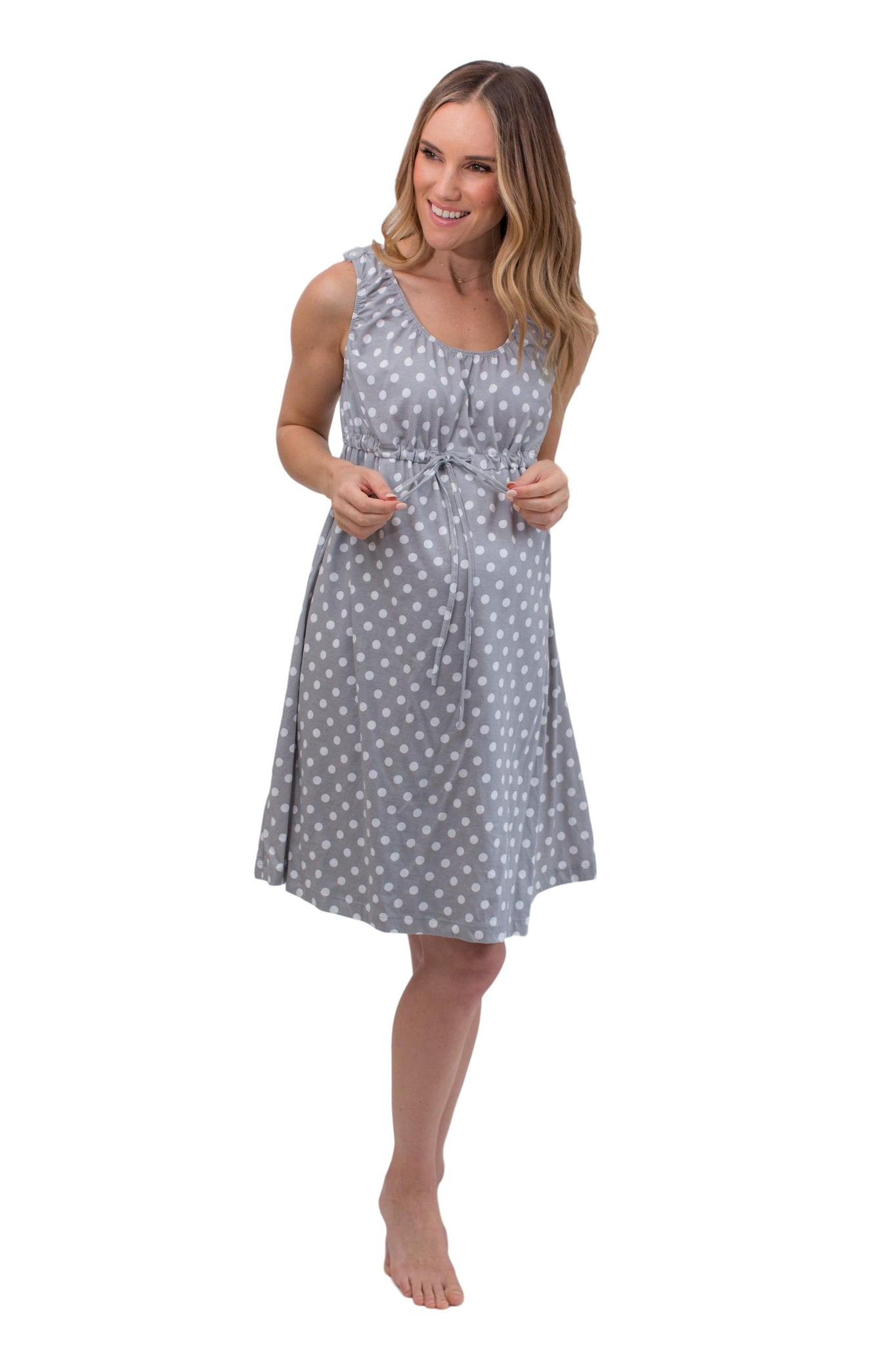 Lisa 3 in 1 Labor / Delivery / Nursing Birthing Hospital Gown Grey Dotted
