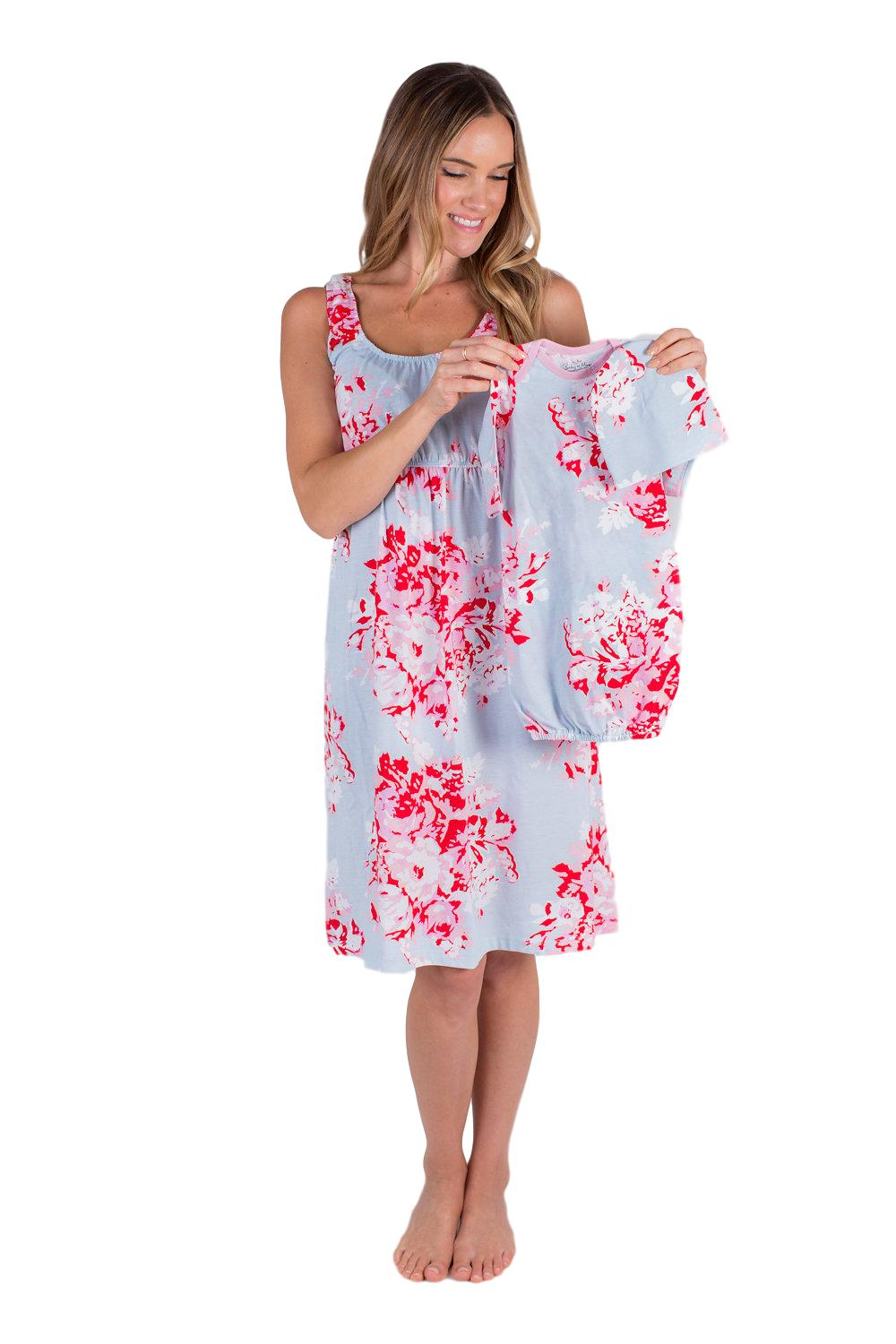 Mae Maternity Nursing Nightgown & Matching Baby Receiving Gown Set