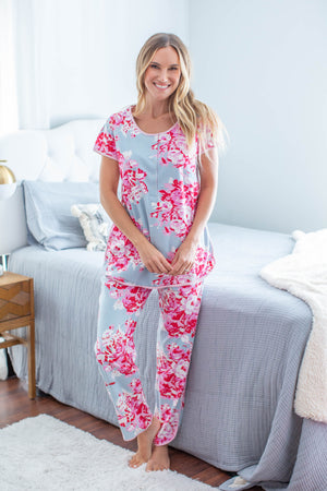 Mae Maternity Nursing Pajamas & Baby Swaddle Blanket Set