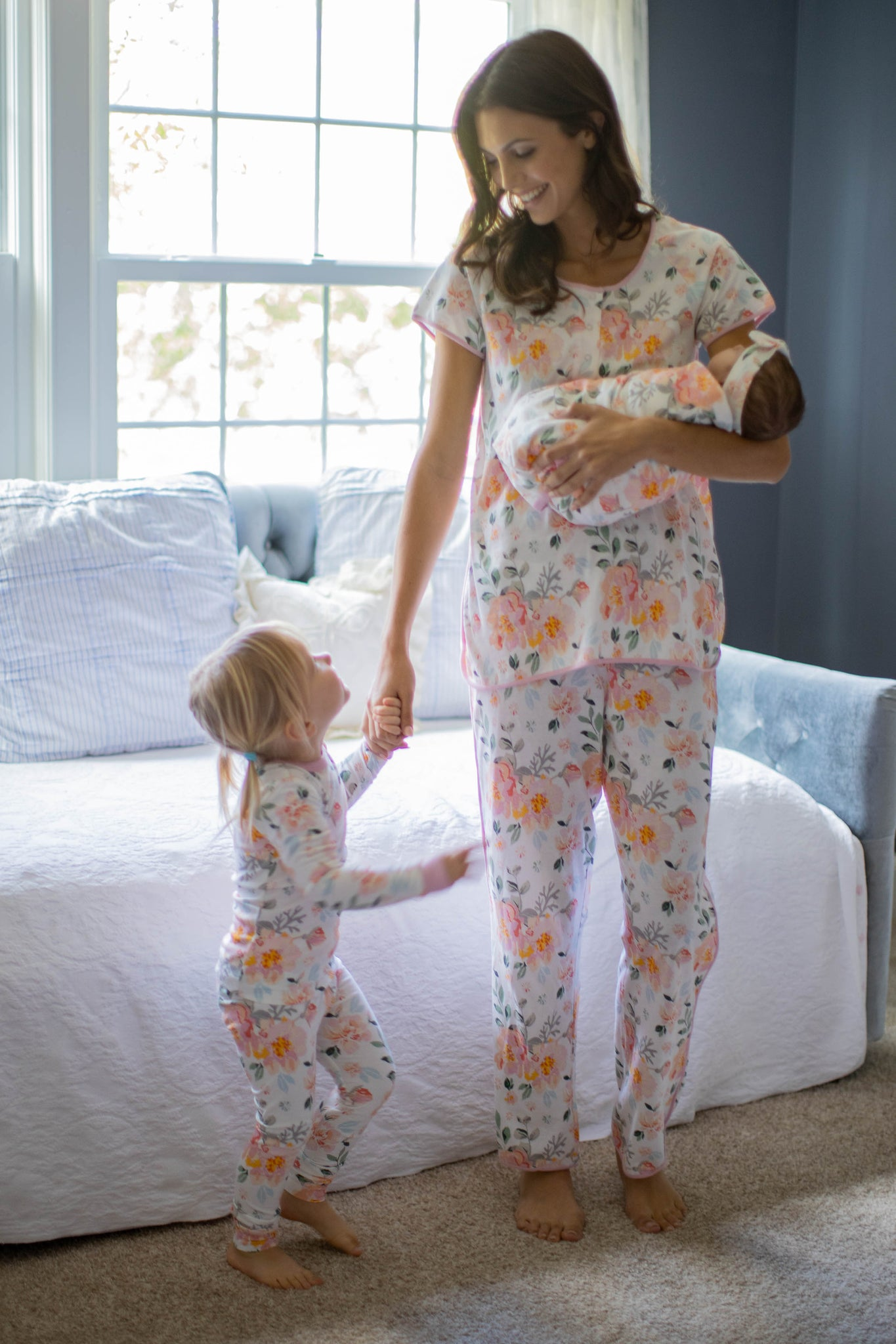 Mila Mom Pajamas & Big Sister Pajamas & Matching Swaddle Blanket Set