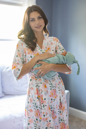 Mila Delivery Robe & Sage Green Swaddle Blanket Set