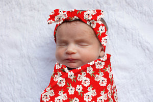 Sadie Floral Swaddle Blanket & Headband Set