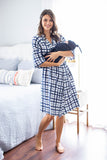 Blue Gingham Delivery Robe & Navy Bue Swaddle Blanket Set