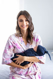 Anais Delivery Robe & Navy Blue Swaddle Blanket Set