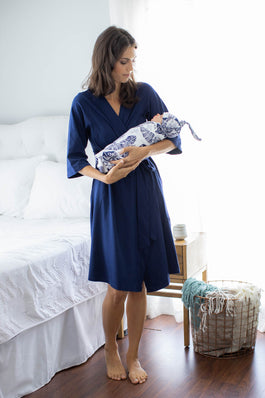 Navy Blue Delivery Robe & Serra Swaddle Blanket Set