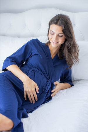 Navy Blue Delivery Robe & Matching Swaddle