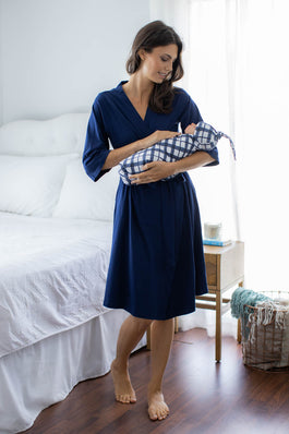 Navy Robe & Blue Gingham Baby Blanket Swaddle Set