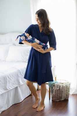 Navy Robe & Annabelle Baby Girl Swaddle Blanket Set