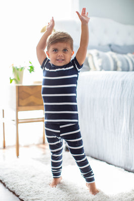 Navy Stripe Kids Pajama Set