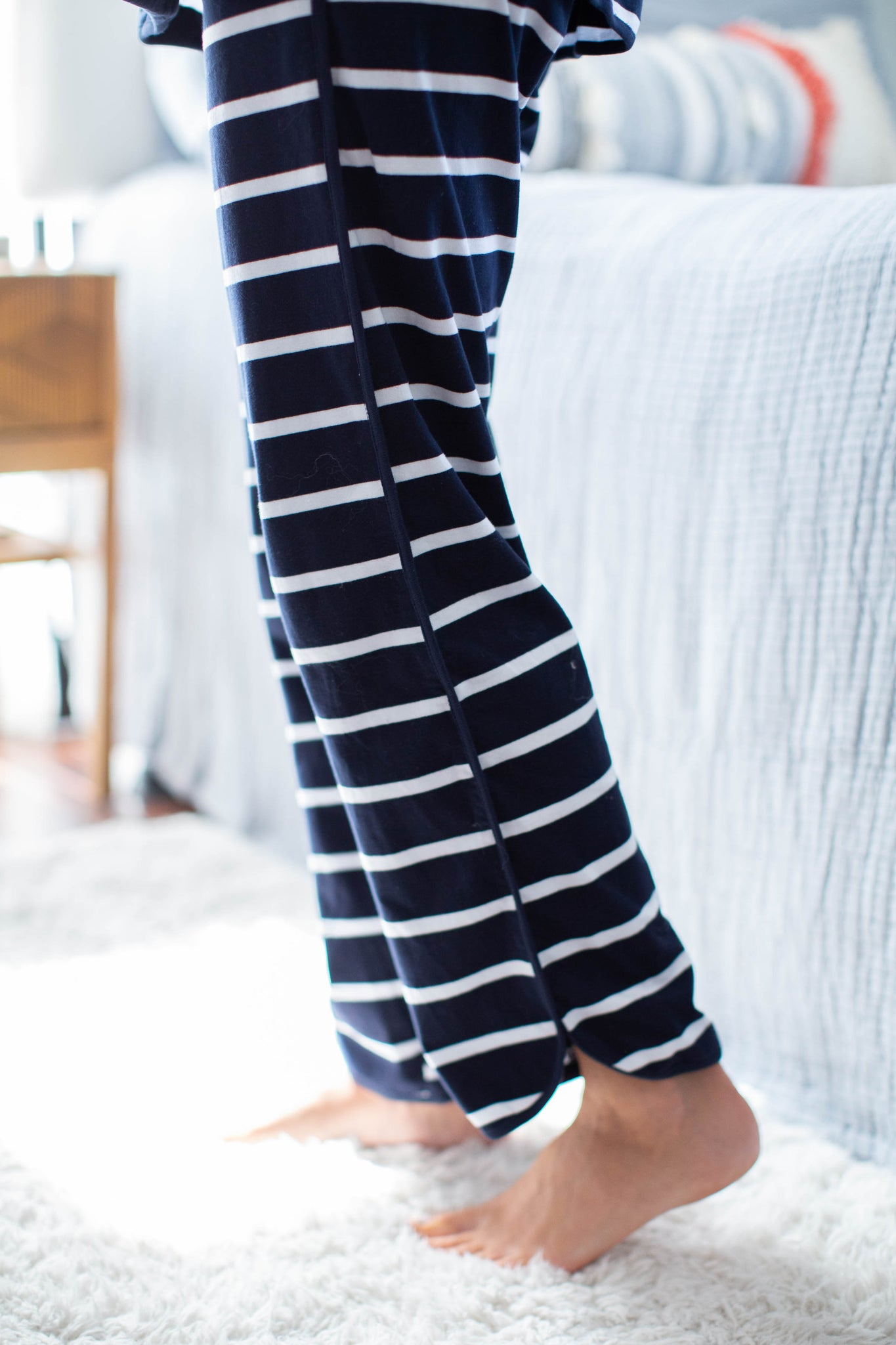 Navy Stripe Maternity Nursing Pajamas & Big Brother Pajamas