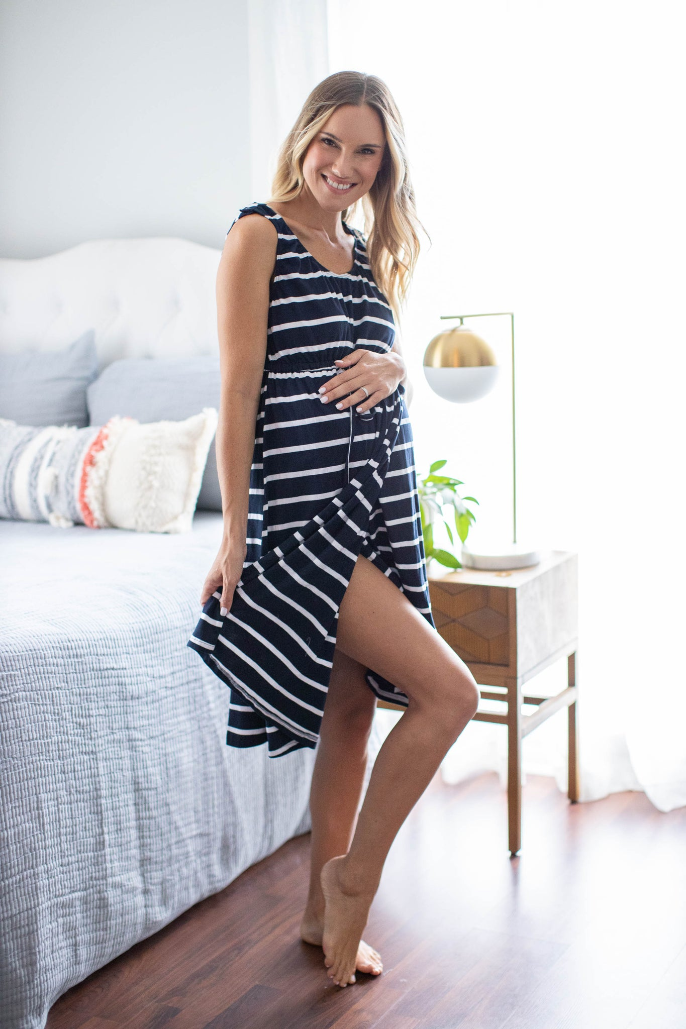 Navy Stripe 3 in 1 Maternity Labor & Delivery Gown