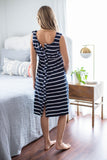 Navy Stripe 3 in 1 Labor Delivery Gown & Matching Robe