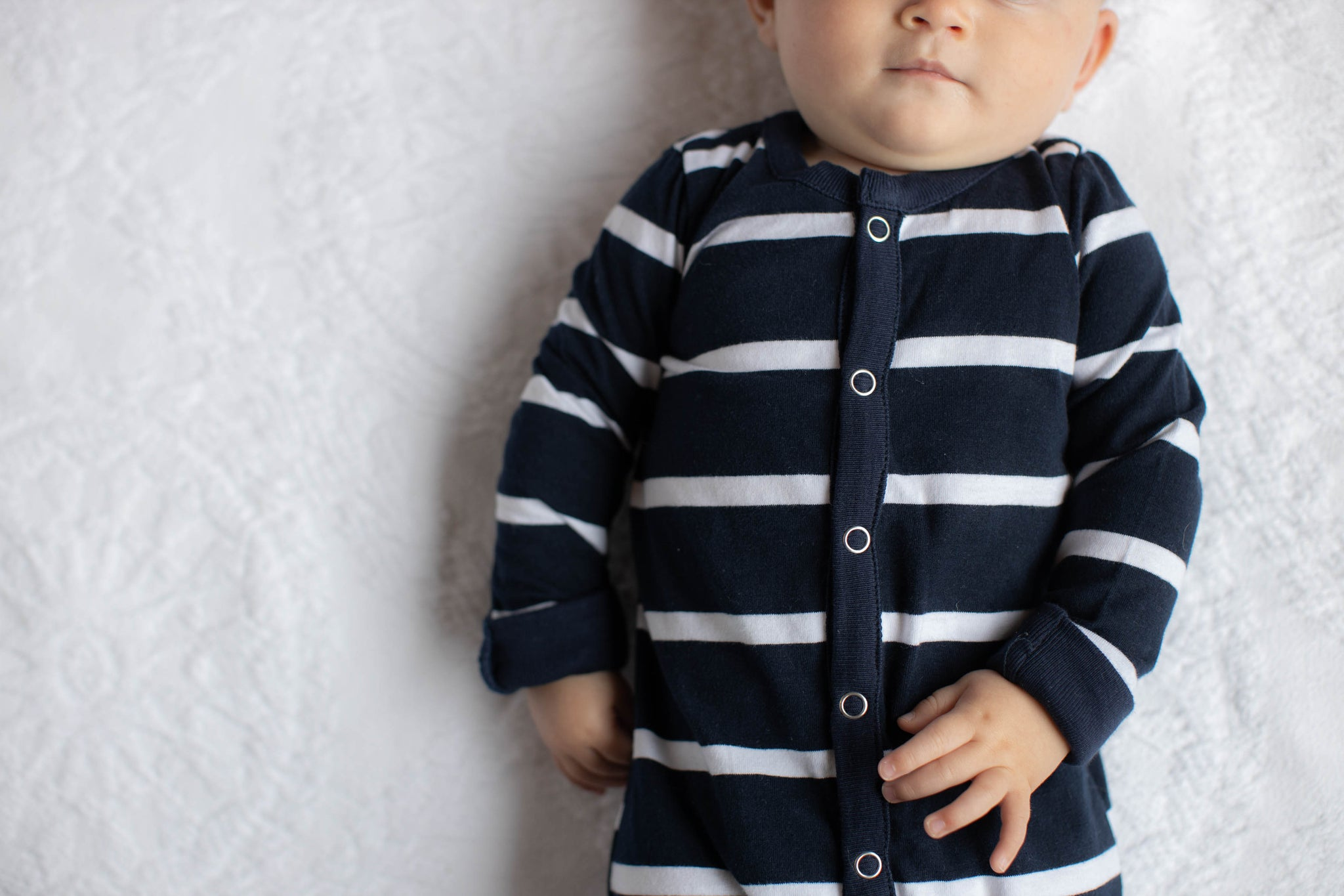 Navy Stripe Baby One Piece Footed Romper
