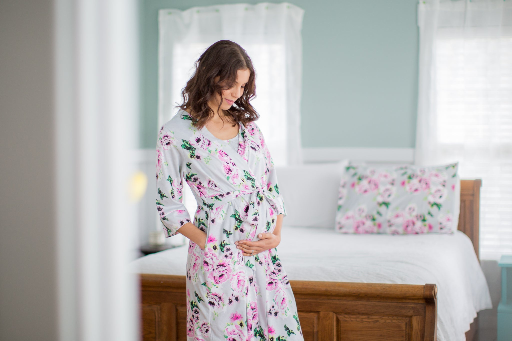 Grey Labor Gown & Olivia Delivery Robe Set