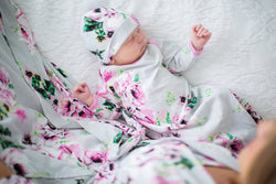3 PC. Set -Olivia Delivery Robe and Matching Baby Receiving Gown & Newborn Hat Set