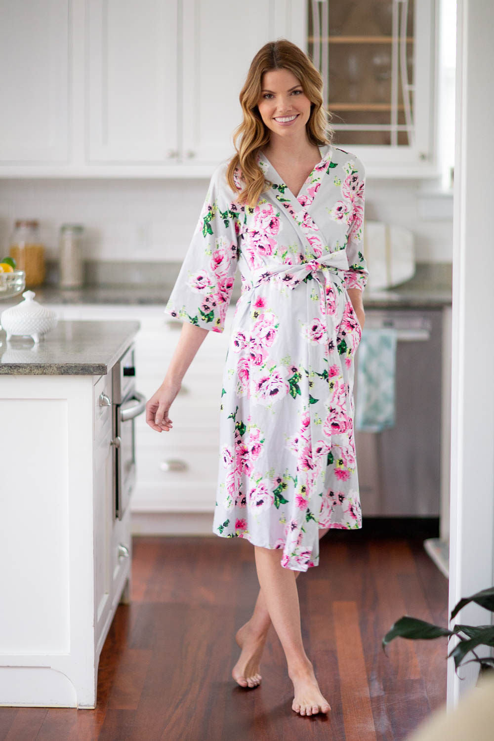 Mom Delivery Maternity Hospital Robe For Your Hospital Bag Gray Floral Baby Be Mine