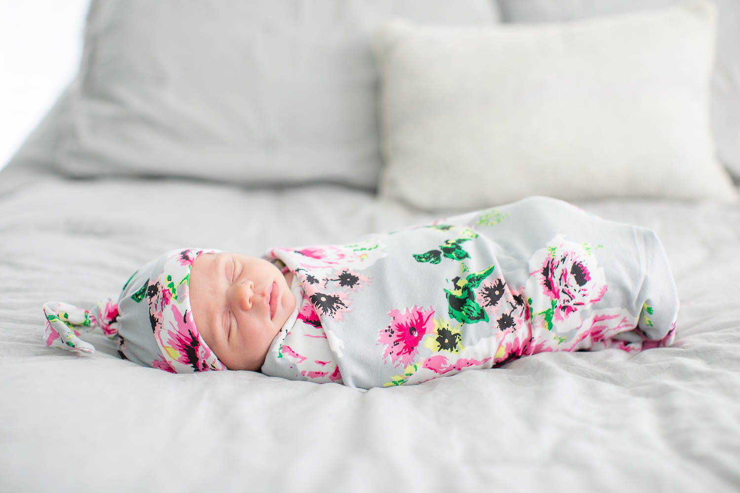 Olivia Gray Floral Swaddle Blanket & Matching Newborn Hat Set