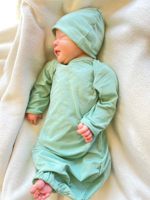 Mila Robe & Sage Green Baby Receiving Gown Set