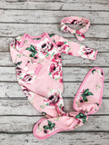 Amelia Knotted Baby Gown & Headband Set