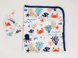 Under The Sea Baby Boy Swaddle Blanket Set