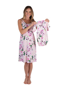 Amelia Maternity/Nursing Nightgown & Matching Baby Receiving Gown And Newborn Hat Set