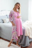 Pink 3 in 1 Maternity Labor Gown & Matching Anais Robe