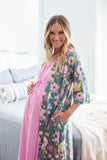 Pink 3 in 1 Maternity Labor Gown & Matching Charlotte Robe